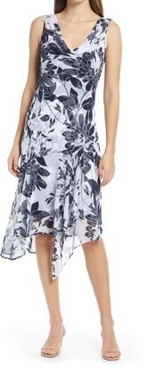 Connected Apparel Floral Print Chiffon Asymmetrical Hem Dress