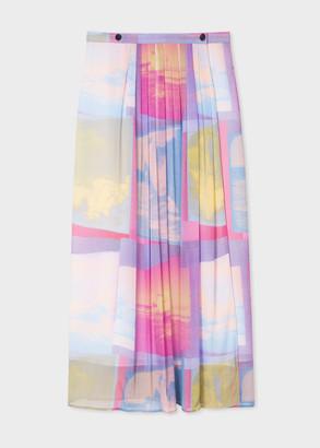 Paul Smith Women's 'Space Photos' Print Pleated Wrap Midi Skirt