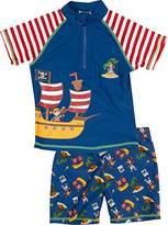 Playshoes Boy's UV Sun Protection 2 Piece Swim Set Swimsuit Pirate Island Swim Shorts,12-18 Months (Manufacturer Size:86/92 (12-24 Months))