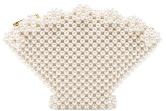 Shrimps Shell Faux Pearl-embellished Clutch - Cream