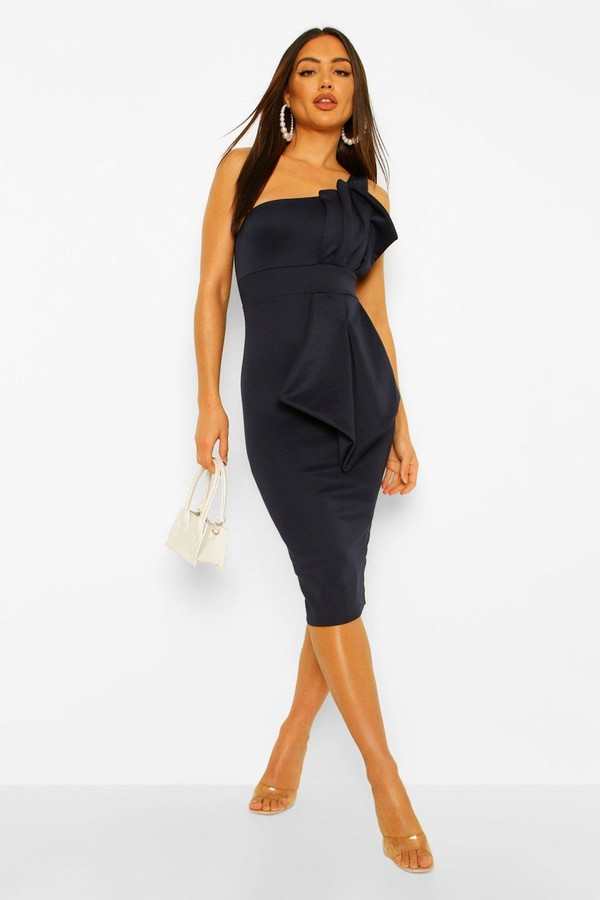 Thumbnail for your product : boohoo One Shoulder Pleated Detail Midi Dress