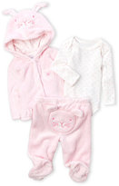 Absorba Newborn/Infant Girls) 3-Piece Faux Fur Hooded Bunny Jacket & Footed Pants Set