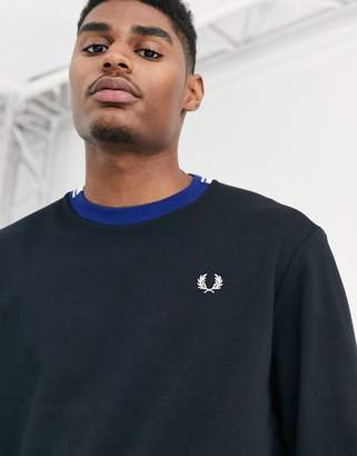 Fred Perry crew neck sweatshirt with contrast collar in black
