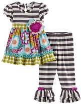 Rare Editions Baby Girl Multi-Patterned Top & Striped Leggings Set