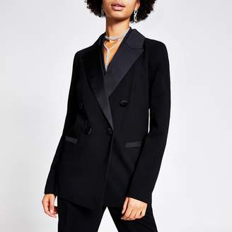 River Island Womens Black double breasted satin lapel blazer