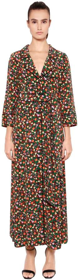 Ganni Floral Printed Silk Dress