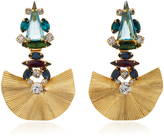 Nicole Romano 18K Gold-Plated Rippled Fan Multistoned Earrings