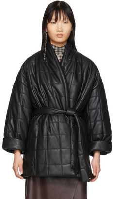 Áeron Black Arizona Quilted Wrap Coat