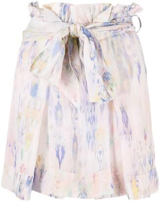 IRO Floral-Print Tied-Waist Short Skirt