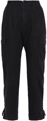 Joie Telutci Cropped Lace-up Linen Tapered Pants
