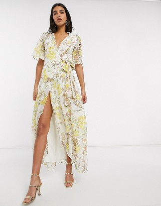 Hope & Ivy v neck wrap tie waist floral maxi dress-Multi