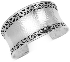 Lois Hill Filigree Concave Hammered Cuff Bracelet in Sterling Silver