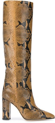 Paris Texas Knee-Length Snake Print Boots