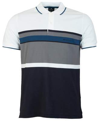 Paul Smith Striped Pique Polo Shirt Colour: NAVY, Size: SMALL