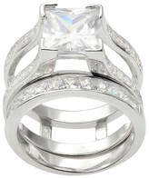 Journee Collection 3 1/2 CT. T.W. Princess Cut CZ Basket Set Elegant Ring in Sterling Silver