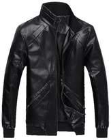 WenHong Men's Fall & Winter Fashion PU Leather Jackets Coat