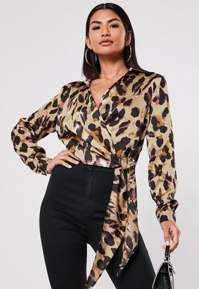 Missguided Brown Leopard Print Tie Side Blouse