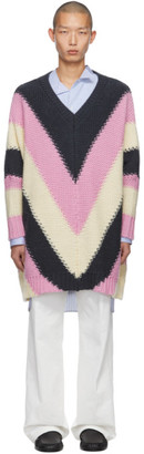 Loewe Pink and Grey V-Neck Sweater