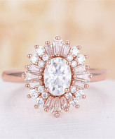 Streetregion Women's Rings White - Crystal & Cubic Zirconia Oval-Cut Floral Ring