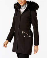 GUESS Faux-Fur-Trim Lace-Up Coat