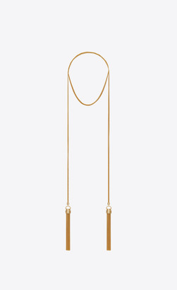 Saint Laurent Long Necklace Double-tassel Scarf Necklace In Metal Gold Onesize