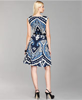 INC International Concepts Dress, Sleeveless Ikat Belted A-Line