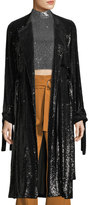 A.L.C. Holloway Open-Front Tie-Cuffs Belted Sequined Coat