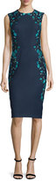 Lela Rose Sleeveless Embroidered Sheath Dress, Green