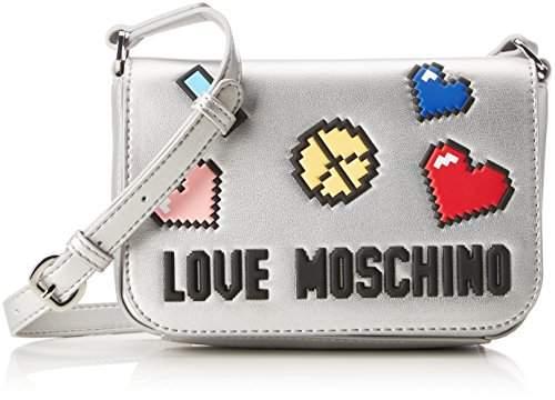 Love Moschino Borsa Soft Nappa Pu Argento, Women's Baguette,6x14x20 cm (B x H T)