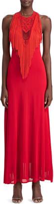 Ralph Lauren Hand-Knotted Fringe Halter Dress