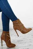 Pink Boutique Booty Camp Taupe Faux Suede Studded Ankle Boots