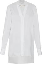 Esteban Cortazar Neck-detail cotton-blend poplin shirt