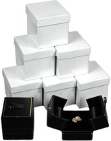 FindingKing 6 Black Leather Ring Gift Box Displays Button Snap Lid