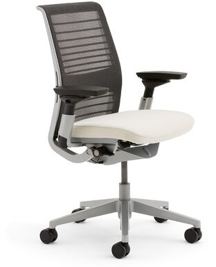 Steelcase Think 3D Mesh Conference Chair Upholstery: Connect - Coconut (5S15), Frame Color: Seagull (7243), Casters: Hard Floor Casters, Lumbar Suppo