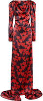 Heart-print silk-satin gown