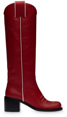 Miu Miu 55mm Contrast Trim Knee-High Boots