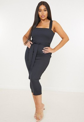 Missguided Plus Size Black Belted Rib Midaxi Dress