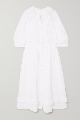 &Daughter Rosa Ruffled Cotton-seersucker Midi Dress - White