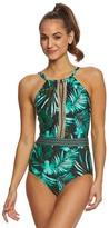 Jantzen Leafy Tropical High Neck One Piece Swimsuit 8167658