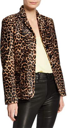 Nour Hammour Kira Leopard-Print Calf-Hair Blazer