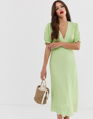 Musier Rosanna short sleeve gingham midi dress-Green