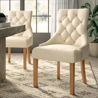Margie Tufted Linen Upholstered Side Chair in Linen (Set of 2) Greyleigh