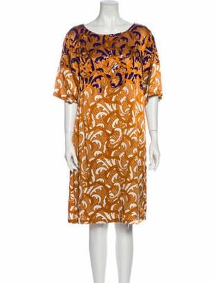 Dries Van Noten Printed Knee-Length Dress Orange