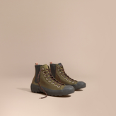 Burberry Technical Cotton And Vulcanised Rubber Boots , Size: 43.5, Green