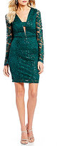 Sequin Hearts Bell Sleeve Sequin Lace Sheath Dress