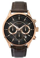 Sekonda 1178.27 Chronograph Date Leather Strap Watch, Brown/black
