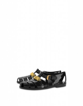 Moschino Jelly Sandals With Lettering Logo Man Black Size 40 It - (7 Us)