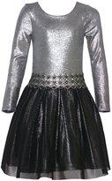 Bonnie Jean Big Girls Glitter Texture Waistband Christmas Dress