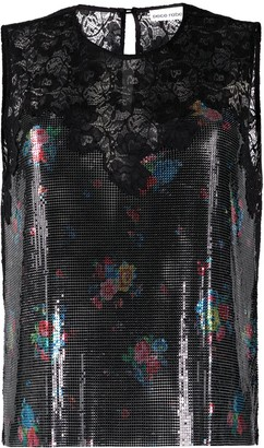 Paco Rabanne Floral Lace Sleeveless Top