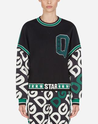 Dolce & Gabbana Short Jersey Sweatshirt With Logo Print